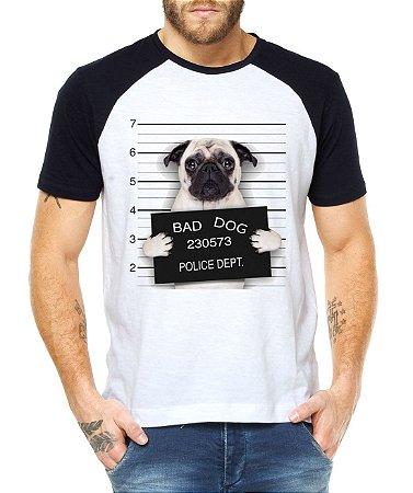 Camiseta Raglan Raglan Masculina Pug Dog Cachorro Preso 2 Divertida Engraçada - Personalizadas/ Customizadas/ Estampadas/ Camiseteria/ Estamparia/ Estampar/ Personalizar/ Customizar/ Criar/ Camisa Blusas Baratas Modelos Legais Loja Online
