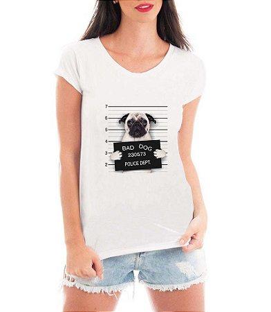 8422445a4 T-shirt Feminina Branca Bad Dog Pug Cachorro Preso - Estampadas Camisa  Blusas Baratas Modelos