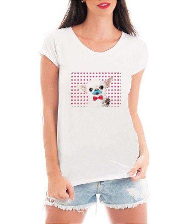 T-shirt Feminina Branca Cinza Cacchorro Dog Bigode - Estampadas Camisa Blusas Baratas Modelos Legais Loja Online