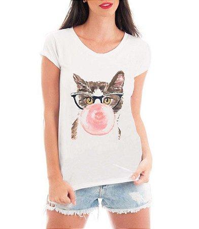 T-shirt Feminina Branca Cinza Gato Intelectual Chicléte - Estampadas Camisa Blusas Baratas Modelos Legais Loja Online