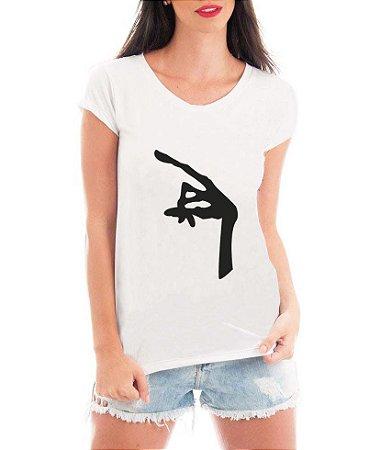 T-shirt Feminina Branca Mão Et - Frases Engraçadas Grávidas Personalizadas/ Customizadas/ Estampadas/ Camiseteria/ Estamparia/ Estampar/ Personalizar/ Customizar/ Criar/ Camisa T-shirts Blusas
