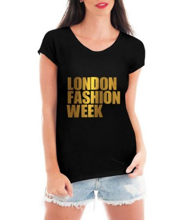 T-shirt Feminina preta London Fashion Week Dourada - Personalizadas/ Customizadas/ Estampadas/ Camiseteria/ Estamparia/ Estampar/ Personalizar/ Customizar/ Criar/ Camisa Blusas