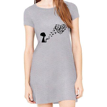Vestido Cinza Preto Paris Springs  - Simples para o Dia a Dia Básico de Malha Estampado Modelos Lindos e Baratos em Preto e Cinza Verão Comprar Loja Online Site Promoção Vestidos Casuais