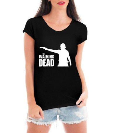 Camiseta Blusa T shirt The Walking Dead Feminina Preta - Personalizadas/ Customizadas/ Estampadas/ Camiseteria/ Estamparia/ Estampar/ Personalizar/ Customizar/ Criar/ Camisa Blusas Baratas Modelos Legais Loja Online