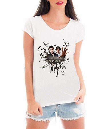 T-shirt Feminina Frente BRANCA Super Natural seriado Série - Personalizadas/ Customizadas/ Estampadas/ Camiseteria/ Estamparia/ Estampar/ Personalizar/ Customizar/ Criar/ Camisa Blusas Baratas Modelos Legais Loja Online