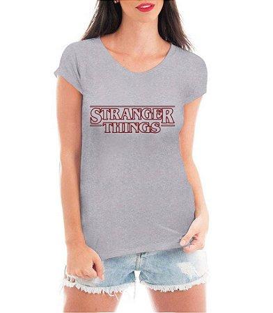 T-shirt Feminina Stranger Things Branca Cinza Nome - Personalizadas/ Customizadas/ Estampadas/ Camiseteria/ Estamparia/ Estampar/ Personalizar/ Customizar/ Criar/ Camisa Blusas Baratas Modelos Legais Loja Online
