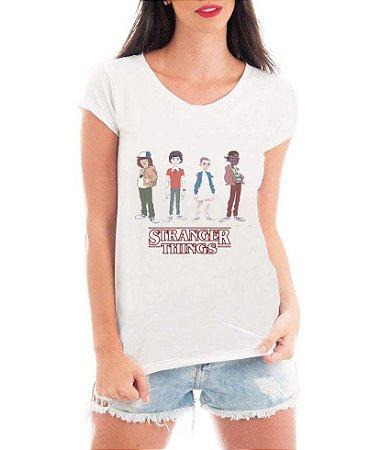 T-shirt Feminina Stranger Things Serie Seriado Personagens - Personalizadas/ Customizadas/ Estampadas/ Camiseteria/ Estamparia/ Estampar/ Personalizar/ Customizar/ Criar/ Camisa Blusas Baratas Modelos Legais Loja Online