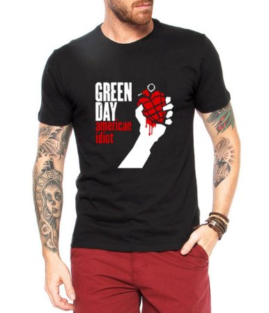 Camiseta Green Day American Idiot Masculina Preta - Personalizadas/ Customizadas/ Estampadas/ Camiseteria/ Estamparia/ Estampar/ Personalizar/ Customizar/ Criar/ Camisa Blusas Baratas Modelos Legais Loja Online