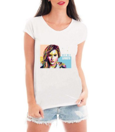 Camiseta Feminina Demi Lovato Cantora Música Color Colorida - Personalizadas/ Customizadas/ Estampadas/ Camiseteria/ Estamparia/ Estampar/ Personalizar/ Customizar/ Criar/ Camisa Blusas Baratas Modelos Legais Loja Online