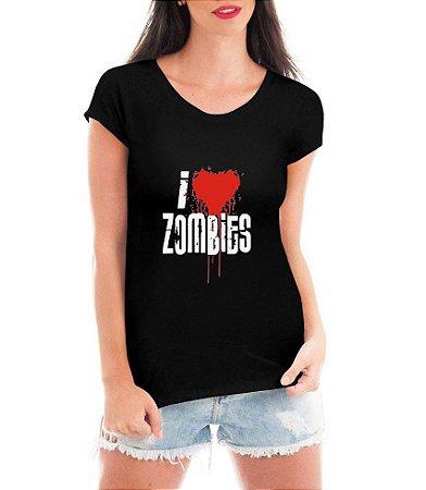 T-shirt Feminina I Love Zombies Preta Cinza - Personalizadas/ Customizadas/ Estampadas/ Camiseteria/ Estamparia/ Estampar/ Personalizar/ Customizar/ Criar/ Camisa Blusas Baratas Modelos Legais Loja Online