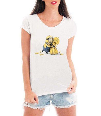 T-shirt Feminina Minions Banana Meu Malvado Favorito Filme Modelo  - Personalizadas/ Customizadas/ Estampadas/ Camiseteria/ Estamparia/ Estampar/ Personalizar/ Customizar/ Criar/ Camisa Blusas Baratas Modelos Legais Loja Online