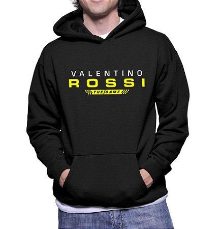 Moletom Valentino Rossi Masculino Preto The Game - Moletons Personalizados Blusa/ Casacos Baratos/ Blusão/ Jaqueta Canguru/ Blusa de Frio