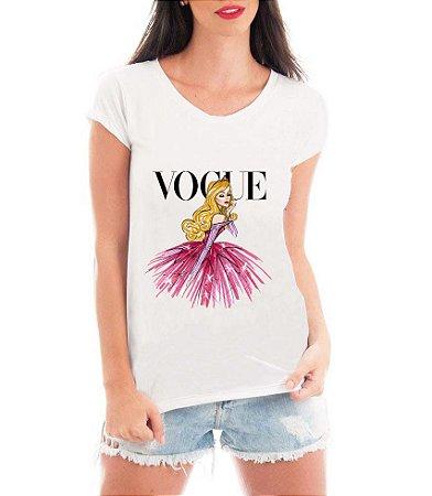 T-shirt Feminina Vogue Aurora Princesa Marca Bela Adormecida Aurora - Personalizadas/ Customizadas/ Estampadas/ Camiseteria/ Estamparia/ Estampar/ Personalizar/ Customizar/ Criar/ Camisa Blusas Baratas Modelos Legais Loja Online