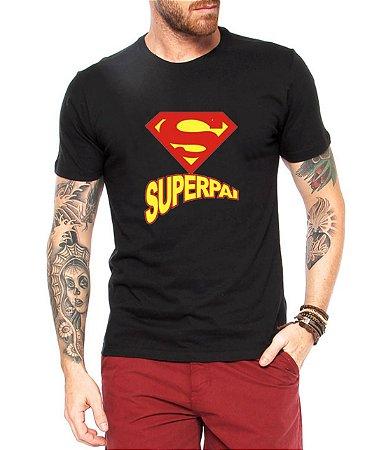 Camiseta Masculina Super Pai Logo Super Homem Super Man Dia Dos Pais - Personalizadas/ Customizadas/ Estampadas/ Camiseteria/ Estamparia/ Estampar/ Personalizar/ Customizar/ Criar/ Camisa Blusas Baratas Modelos Legais Loja Online