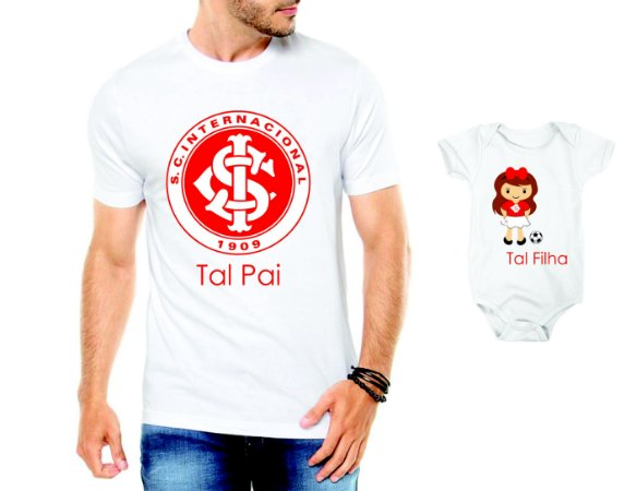 Camiseta Tal Pai tal filha Inter Futbol Futebol Time Dia Dos Pais - Personalizadas/ Customizadas/ Estampadas/ Camiseteria/ Estamparia/ Estampar/ Personalizar/ Customizar/ Criar/ Camisa Blusas Baratas Modelos Legais Loja Online