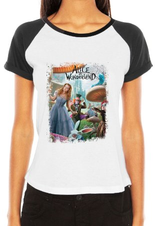 Camiseta Blusa Raglan Alice In Wonderland Filme - Série Seriado/ Customizadas/ Estampadas/ Camisas - Personalizadas/ Customizadas/ Camiseteria/ Estamparia/ Personalizar/ Customizar/ Criar/ Camisa Blusas Baratas Modelos Legais Loja Online