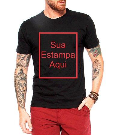 Camiseta Masculina Preta/Branca/Cinza PERSONALIZE COM SUA ARTE - Personalizadas/ Customizadas/ Estampadas/ Camiseteria/ Estamparia/ Estampar/ Personalizar/ Customizar/ Criar/ Camisa Blusas Baratas Modelos Legais Loja Online