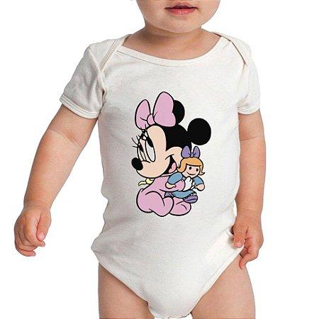 Body Branco Manga curta Minnie Baby - Roupinhas Macacão Infantil Bodies Roupa Manga Curta Menino Menina Personalizados