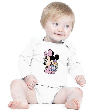 Body Branco Manga Longa Minnie Baby - Roupinhas Macacão Infantil Bodies Roupa Manga Longa Menino Menina Personalizados