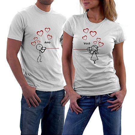 Camiseta Casal Amo você Amor Love Namorados - Personalizadas  Customizadas   Estampadas  Camiseteria  ad3b7145213a4