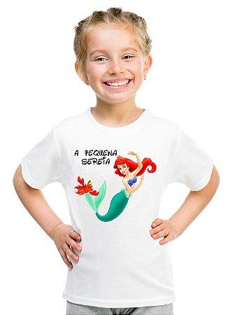 Camiseta Infantil Menina A Pequena Sereia Ariel Filme - Personalizadas/ Customizadas/ Estampadas/ Camiseteria/ Estamparia/ Estampar/ Personalizar/ Customizar/ Criar/ Camisa Blusas Baratas Modelos Legais Loja Online