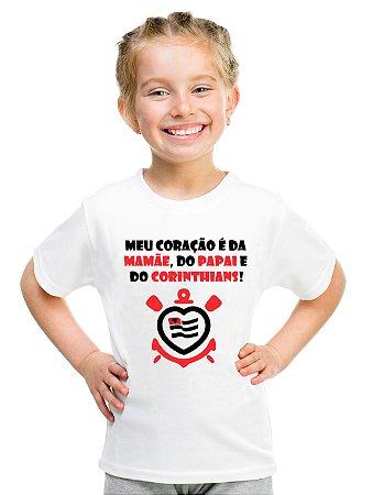 Camiseta Infantil Menina Corinthians Amor Time - Personalizadas/ Customizadas/ Estampadas/ Camiseteria/ Estamparia/ Estampar/ Personalizar/ Customizar/ Criar/ Camisa Blusas Baratas Modelos Legais Loja Online