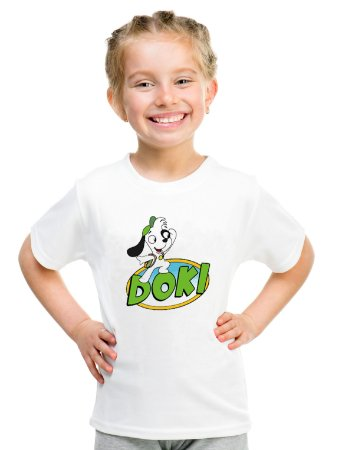 Camiseta Infantil Menina Doki Desenho - Personalizadas/ Customizadas/ Estampadas/ Camiseteria/ Estamparia/ Estampar/ Personalizar/ Customizar/ Criar/ Camisa Blusas Baratas Modelos Legais Loja Online