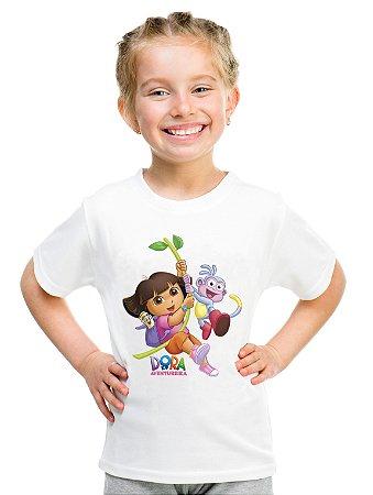 Camiseta Infantil Menina Dora Aventureira Desenho - Personalizadas/ Customizadas/ Estampadas/ Camiseteria/ Estamparia/ Estampar/ Personalizar/ Customizar/ Criar/ Camisa Blusas Baratas Modelos Legais Loja Online