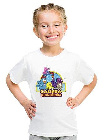 Camiseta Infantil Menina Galinha Pintadinha Desenho - Personalizadas/ Customizadas/ Estampadas/ Camiseteria/ Estamparia/ Estampar/ Personalizar/ Customizar/ Criar/ Camisa Blusas Baratas Modelos Legais Loja Online