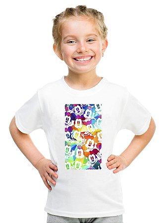 Camiseta Infantil Menina Mickey Colorido - Personalizadas/ Customizadas/ Estampadas/ Camiseteria/ Estamparia/ Estampar/ Personalizar/ Customizar/ Criar/ Camisa Blusas Baratas Modelos Legais Loja Online