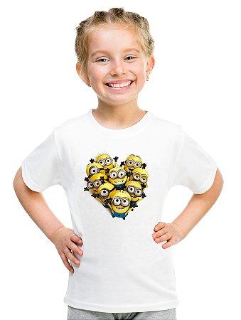 Camiseta Infantil Menina Minion Coração Love - Personalizadas/ Customizadas/ Estampadas/ Camiseteria/ Estamparia/ Estampar/ Personalizar/ Customizar/ Criar/ Camisa Blusas Baratas Modelos Legais Loja Online