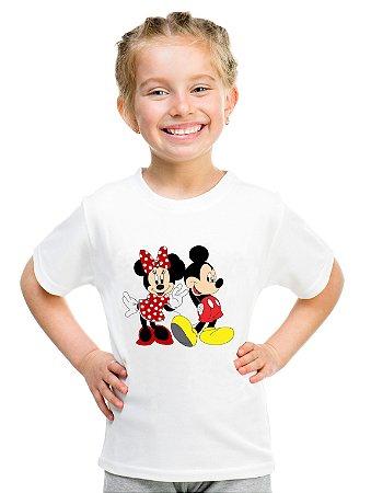 Camiseta Infantil Menina Mickey e Minnie Mouse Desenho - Personalizadas/ Customizadas/ Estampadas/ Camiseteria/ Estamparia/ Estampar/ Personalizar/ Customizar/ Criar/ Camisa Blusas Baratas Modelos Legais Loja Online