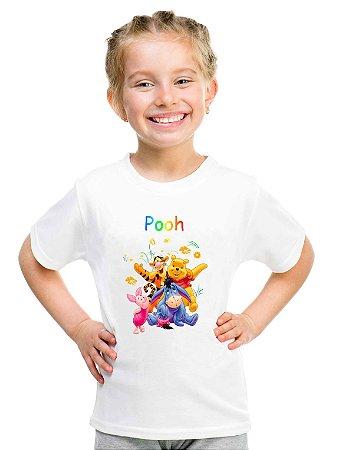 Camiseta Infantil Menina Urso Pooh Desenho - Personalizadas/ Customizadas/ Estampadas/ Camiseteria/ Estamparia/ Estampar/ Personalizar/ Customizar/ Criar/ Camisa Blusas Baratas Modelos Legais Loja Online