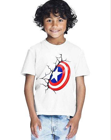 Camiseta Infantil Menino Filme Capitão América - Personalizadas/ Customizadas/ Estampadas/ Camiseteria/ Estamparia/ Estampar/ Personalizar/ Customizar/ Criar/ Camisa Blusas Baratas Modelos Legais Loja Online