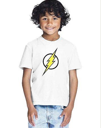 Camiseta Infantil Menino Simbolo Flash - Personalizadas/ Customizadas/ Estampadas/ Camiseteria/ Estamparia/ Estampar/ Personalizar/ Customizar/ Criar/ Camisa Blusas Baratas Modelos Legais Loja Online