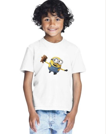 Camiseta Infantil Menino Minion Ursinho Filme - Personalizadas/ Customizadas/ Estampadas/ Camiseteria/ Estamparia/ Estampar/ Personalizar/ Customizar/ Criar/ Camisa Blusas Baratas Modelos Legais Loja Online