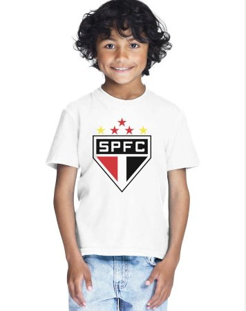 Camiseta Infantil Menino São Paulo SPFC Time - Personalizadas/ Customizadas/ Estampadas/ Camiseteria/ Estamparia/ Estampar/ Personalizar/ Customizar/ Criar/ Camisa Blusas Baratas Modelos Legais Loja Online