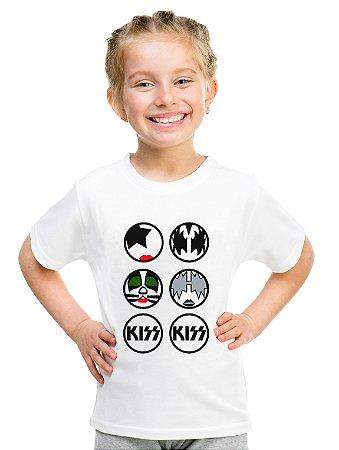Camiseta Infantil Menina Banda Kiss Rock - Personalizadas/ Customizadas/ Estampadas/ Camiseteria/ Estamparia/ Estampar/ Personalizar/ Customizar/ Criar/ Camisa Blusas Baratas Modelos Legais Loja Online