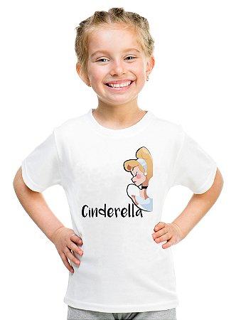 Camiseta Infantil Menina Cinderella Princesas - Personalizadas/ Customizadas/ Estampadas/ Camiseteria/ Estamparia/ Estampar/ Personalizar/ Customizar/ Criar/ Camisa Blusas Baratas Modelos Legais Loja Online