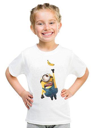 Camiseta Infantil Menina Minion Banana - Personalizadas/ Customizadas/ Estampadas/ Camiseteria/ Estamparia/ Estampar/ Personalizar/ Customizar/ Criar/ Camisa Blusas Baratas Modelos Legais Loja Online