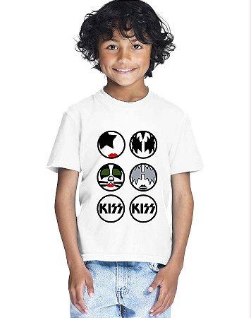 Camiseta Infantil Menino Banda Kiss Rock - Personalizadas/ Customizadas/ Estampadas/ Camiseteria/ Estamparia/ Estampar/ Personalizar/ Customizar/ Criar/ Camisa Blusas Baratas Modelos Legais Loja Online