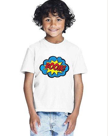 Camiseta Infantil Menino Boom Quadrinhos - Personalizadas/ Customizadas/ Estampadas/ Camiseteria/ Estamparia/ Estampar/ Personalizar/ Customizar/ Criar/ Camisa Blusas Baratas Modelos Legais Loja Online