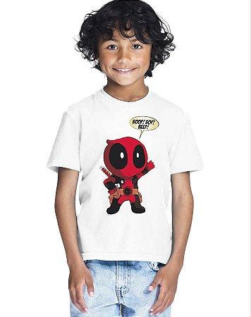Camiseta Infantil Menino Deadpool Super Heróis - Personalizadas/ Customizadas/ Estampadas/ Camiseteria/ Estamparia/ Estampar/ Personalizar/ Customizar/ Criar/ Camisa Blusas Baratas Modelos Legais Loja Online