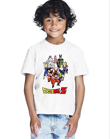 Camiseta Infantil Menino Dragon Ball Personagens - Personalizadas/ Customizadas/ Estampadas/ Camiseteria/ Estamparia/ Estampar/ Personalizar/ Customizar/ Criar/ Camisa Blusas Baratas Modelos Legais Loja Online