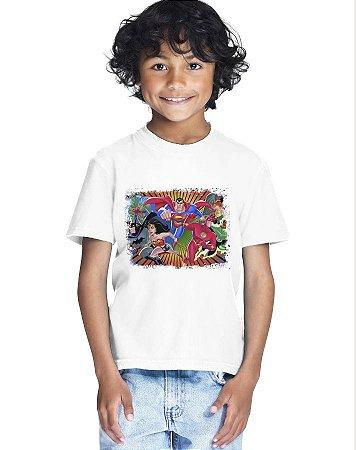 Camiseta Infantil Menino Liga Da Justiça - Personalizadas/ Customizadas/ Estampadas/ Camiseteria/ Estamparia/ Estampar/ Personalizar/ Customizar/ Criar/ Camisa Blusas Baratas Modelos Legais Loja Online