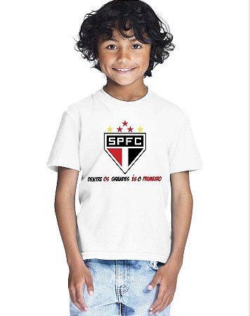 Camiseta Infantil Menino SPFC Dentre Os Grandes És o Primeiro - Personalizadas/ Customizadas/ Estampadas/ Camiseteria/ Estamparia/ Estampar/ Personalizar/ Customizar/ Criar/ Camisa Blusas Baratas Modelos Legais Loja Online