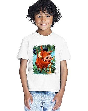 Camiseta Infantil Menino Timão e Pumba - Personalizadas/ Customizadas/ Estampadas/ Camiseteria/ Estamparia/ Estampar/ Personalizar/ Customizar/ Criar/ Camisa Blusas Baratas Modelos Legais Loja Online
