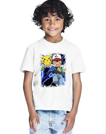 Camiseta Infantil Menino Pokemon Desenho - Personalizadas/ Customizadas/ Estampadas/ Camiseteria/ Estamparia/ Estampar/ Personalizar/ Customizar/ Criar/ Camisa Blusas Baratas Modelos Legais Loja Online