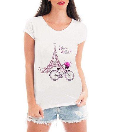 Camiseta Feminina Bonjour Paris Bicileta Torre Eiffel - Personalizadas/ Customizadas/ Estampadas/ Camiseteria/ Estamparia/ Estampar/ Personalizar/ Customizar/ Criar/ Camisa Blusas Baratas Modelos Legais Loja Online