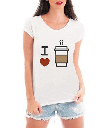 Camiseta Feminina Branca I love Café - Personalizadas/ Customizadas/ Estampadas/ Camiseteria/ Estamparia/ Estampar/ Personalizar/ Customizar/ Criar/ Camisa Blusas Baratas Modelos Legais Loja Online